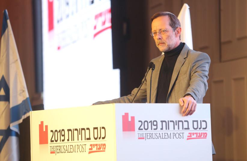Moshe Feiglin at The Jerusalem Post elections conference, April 3rd, 2019 (photo credit: MARC ISRAEL SELLEM/THE JERUSALEM POST)