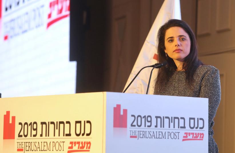 Ayelet Shaked at The Jerusalem Post elections conference, April 3rd, 2019 (photo credit: MARC ISRAEL SELLEM/THE JERUSALEM POST)
