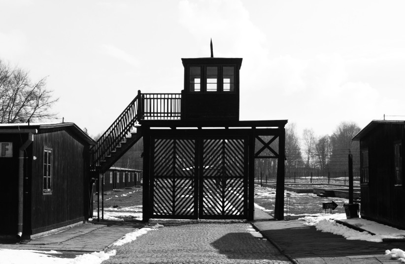 The gate at the Stutthof concentration camp (photo credit: Wikimedia Commons)