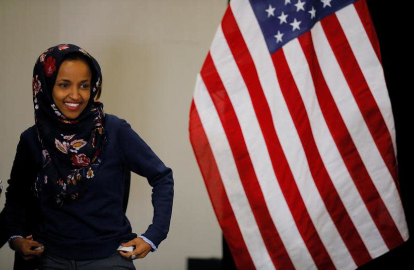 U.S. Democratic congressional Rep. Ilhan Omar attended a gun violence prevention roundtable before she was elected.  (photo credit: REUTERS/BRIAN SNYDER)