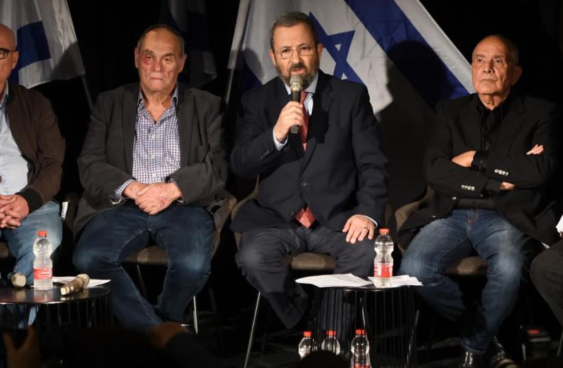 Former Prime Minister Ehud Barak [C] speaking at a special panel regarding Case 3000    (photo credit: AVSHALOM SASSONI)
