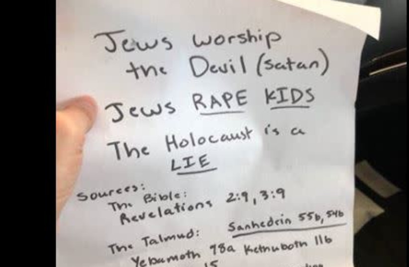Antisemitic flyer found on California cars (photo credit: screenshot)