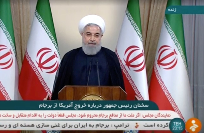 Iran's President Rouhani speaks about the nuclear deal in Tehran (photo credit: REUTERS)