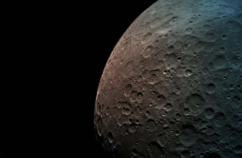 The moon from 550 kilometers away, as taken by Beresheet, April 7th, 2019 (photo credit: ISRAEL SPACE AGENCY)