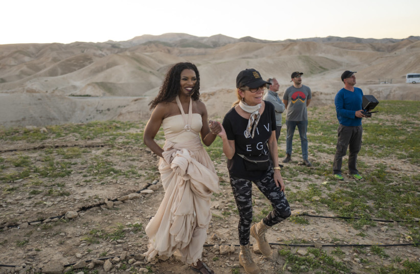 NICOLE MULLEN (left) and Kathie Lee Gifford on set of filming in Israel last month (photo credit: Courtesy)