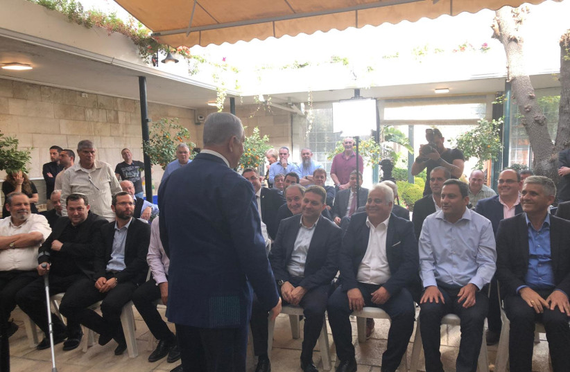 Prime Minister Benjamin Netanyahu at a meeting with West Bank community heads (photo credit: PRIME MINISTER'S OFFICE)