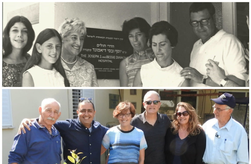 Fredi Diamond as a 12-year-old visiting Kibbutz Ein Gev with her grandmother in 1969 (above) and in 2019 with her husband (below) in front of the clinic her grandmother funded (photo credit: ARIEL TZUR)
