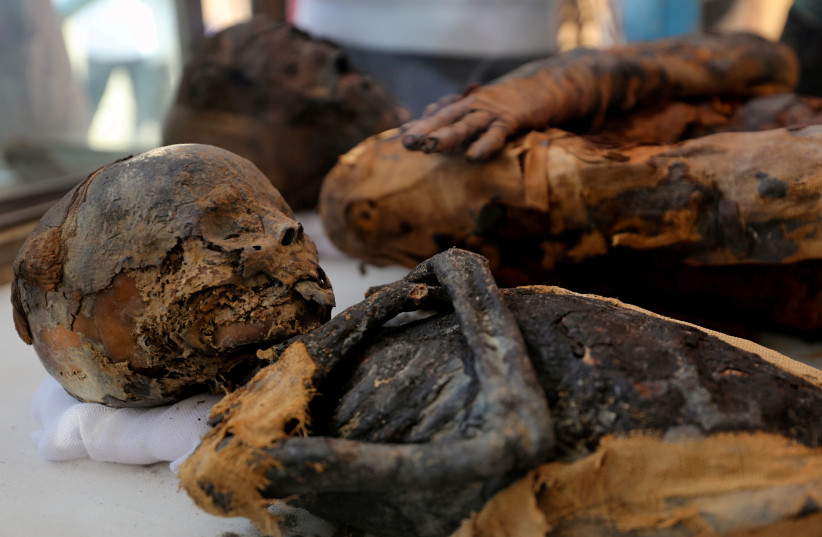Two mummies, of a woman and child, are on display at the newly discovered burial site, the Tomb of Tutu, at al-Dayabat, Sohag, Egypt April 5, 2019 (photo credit: MOHAMED ABD EL GHANY/ REUTERS)