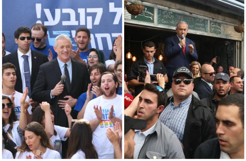 Benny Gantz and Benjamin Netanyahu rally their voters a day before elections 2019.  (photo credit: SRAYA DIAMANT / MARC ISRAEL SELLEM)