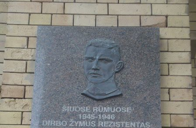 Memorial plaque at the Library of Academy of science in Vilnius: Jonas Noreika generolas Vetra (photo credit: WIKIMEDIA COMMONS/ALMA PATER)