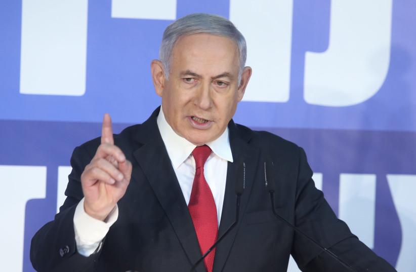 Benjamin Netanyahu at a press conference, February 28th, 2019 (photo credit: MARC ISRAEL SELLEM/THE JERUSALEM POST)