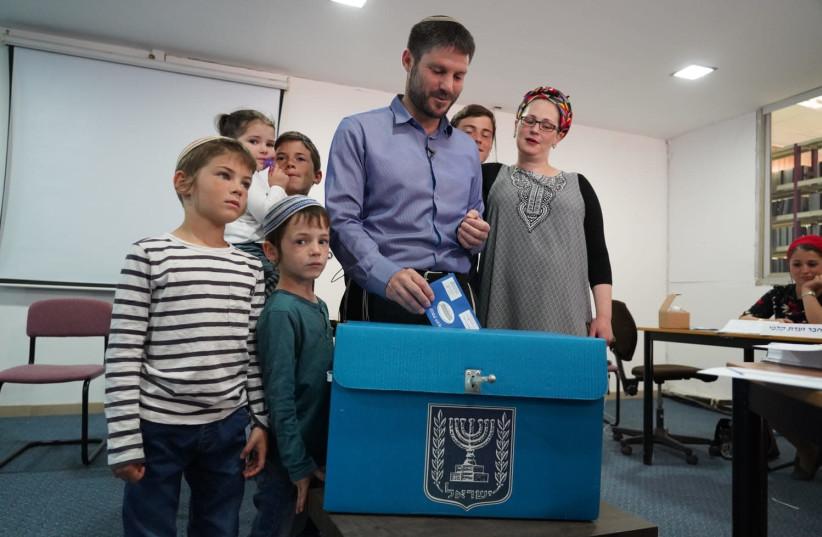 Betzalel Smutrich voting in Kedumim (photo credit: HILLEL MEIR/TPS)