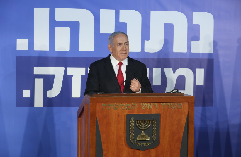 Benjamin Netanyahu during a speech, February 28th, 2019 (photo credit: MARC ISRAEL SELLEM/THE JERUSALEM POST)