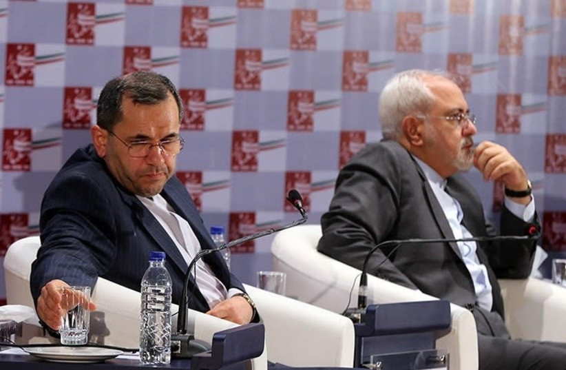 Majid Takht Ravanchi (L) with Mohammad Javad Zarif (R), Iran's Foreign Minister, in 2015 (photo credit: TASNIM NEWS AGENCY/WIKIMEDIA COMMONS)