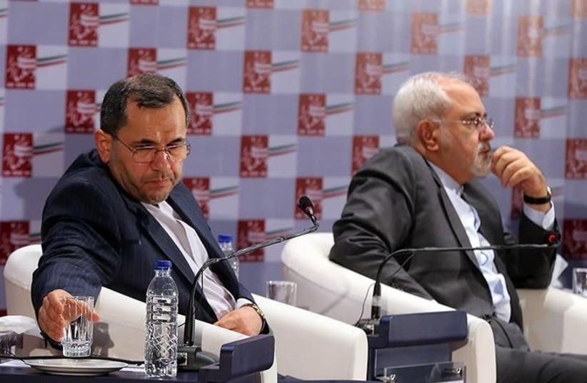 Majid Takht Ravanchi (L) with Mohammad Javad Zarif (R), Iran's Foreign Minister, in 2015 (photo credit: TASNIM NEWS AGENCY/WIKIMEDIA COMMONS)