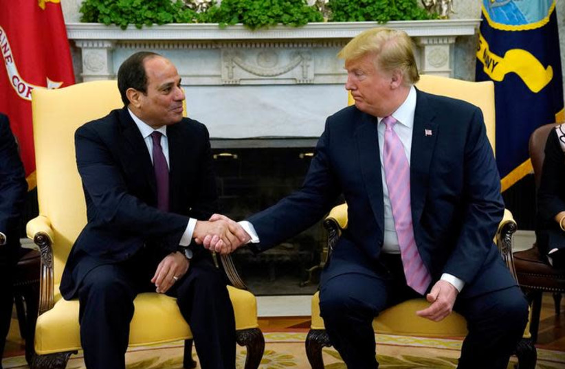 U.S. President Donald Trump meets with Egypt President Abdel Fattah al-Sisi at the White House in Washington, U.S., April 9, 2019 (photo credit: REUTERS/KEVIN LAMARQUE)