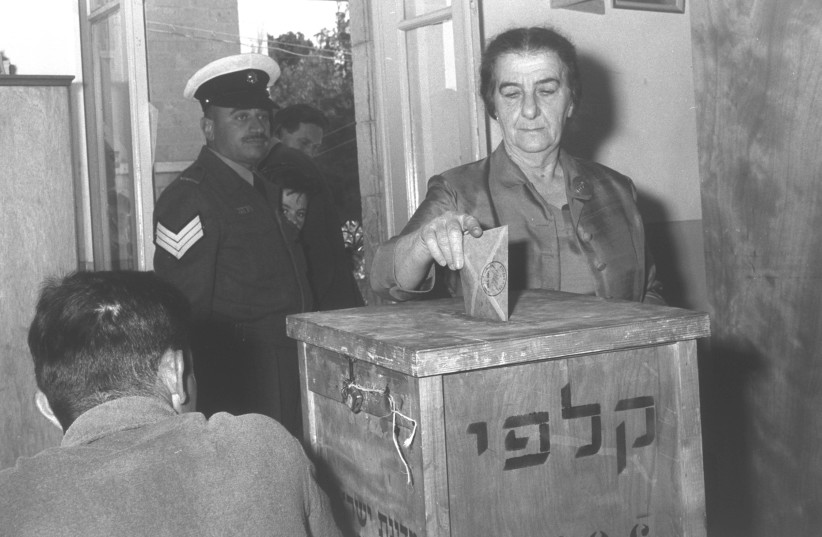 Golda Meir casting her vote in Jerusalem for the 4th Knesset, November 3, 1959 (photo credit: FRITZ COHEN/GPO)
