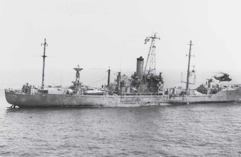THE USS Liberty is pictured off the Sinai Peninsula on June 9, 1967, one day after it was attacked. (photo credit: US NAVY)