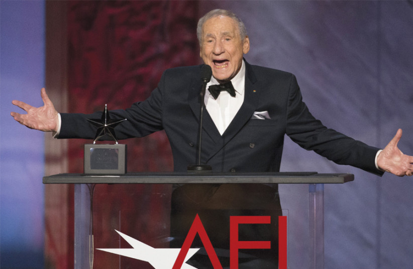 MEL BROOKS speaks at an awards ceremony in 2015. (photo credit: MARIO ANZUONI/REUTERS)