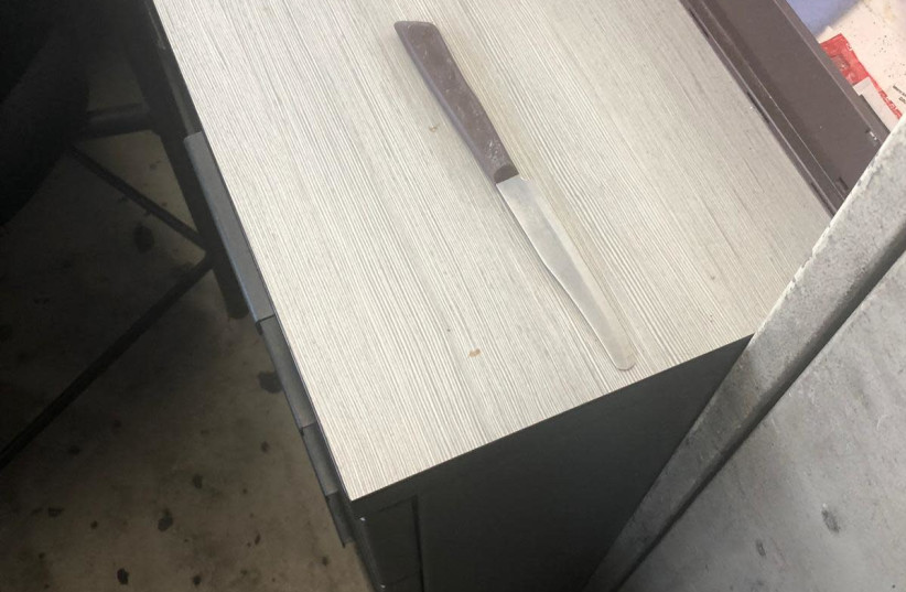 Knife from attempted stabbing attack at A'Zaim (photo credit: POLICE SPOKESPERSON'S UNIT)