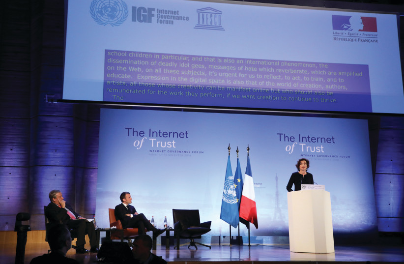 UNESCO CHIEF Audrey Azoulay speaks at the Internet Governance Forum at UNESCO HQ (photo credit: REUTERS)