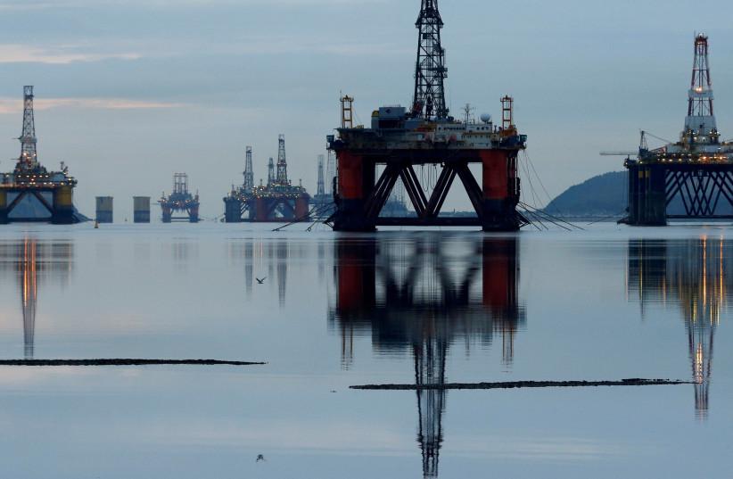 Drilling rigs in the Cromarty Firth near Invergordon, Scotland (photo credit: REUTERS)