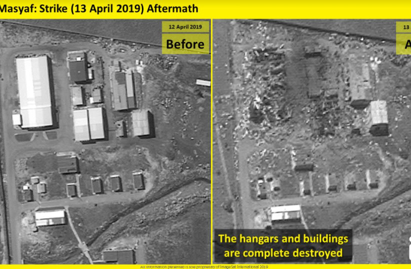 Before and after photos of a possible Iranian missile factory in Syria (photo credit: IMAGESAT INTERNATIONAL (ISI))