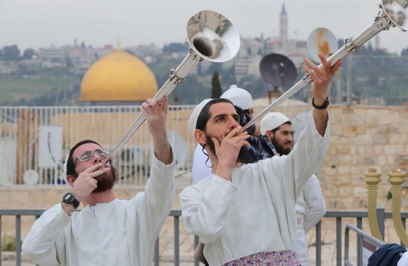 People reenacting the Passover celebrations in Jerusalem  (photo credit: EYTAN ELHADAZ/ TPS)