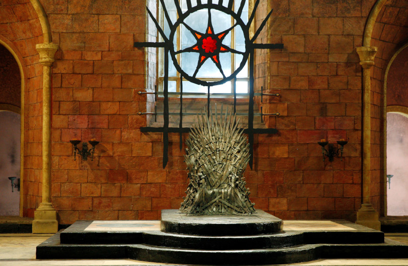 The Iron Throne is seen on the set of the television series Game of Thrones in the Titanic Quarter of Belfast, Northern Ireland, Picture taken June 24, 2014. (photo credit: PHIL NOBLE/REUTERS)
