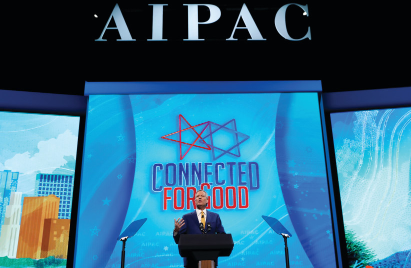 NEW YORK City Mayor Bill de Blasio speaks at AIPAC in Washington (photo credit: REUTERS)