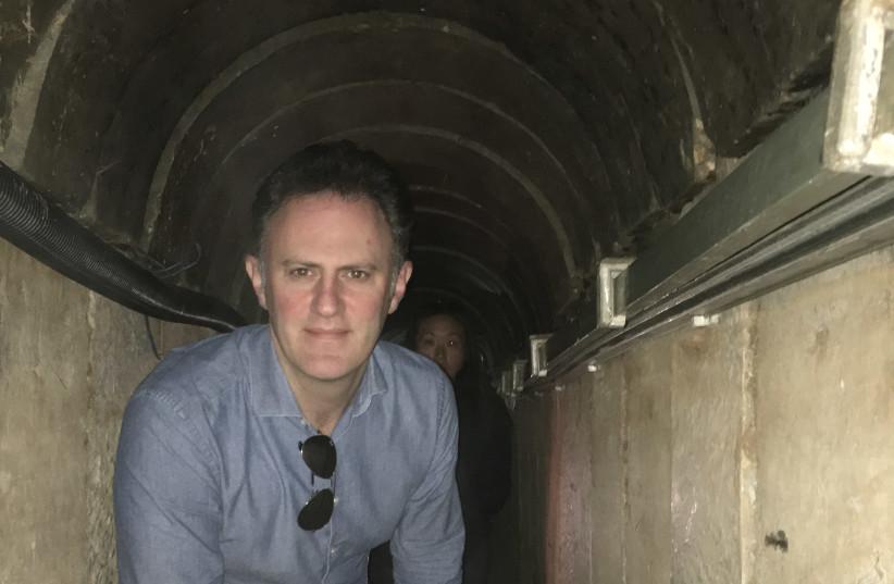 Ambassador Sales inspects Hamas tunnels 8 meters deep under the Israel Gaza border (photo credit: KEVIN TIERNEY)