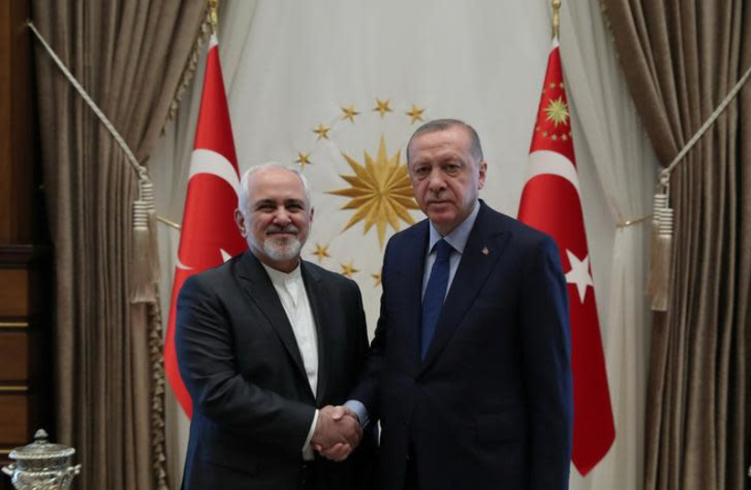 urkish President Tayyip Erdogan meets with Iranian Foreign Minister Mohammad Javad Zarif in Ankara, Turkey (photo credit: REUTERS)