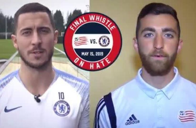 Belgian Chelsea soccer player Eden Hazard [L] and New England Revolution goal keeper Matt Turner [R]. (photo credit: Courtesy)