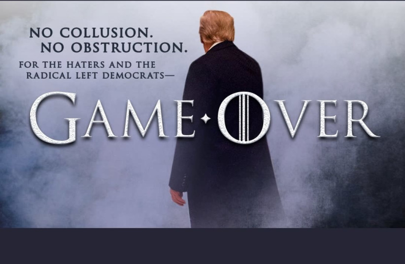 The picture President Donald Trump tweeted in response to the release of the Mueller report (photo credit: DONALD TRUMP'S TWITTER PAGE)