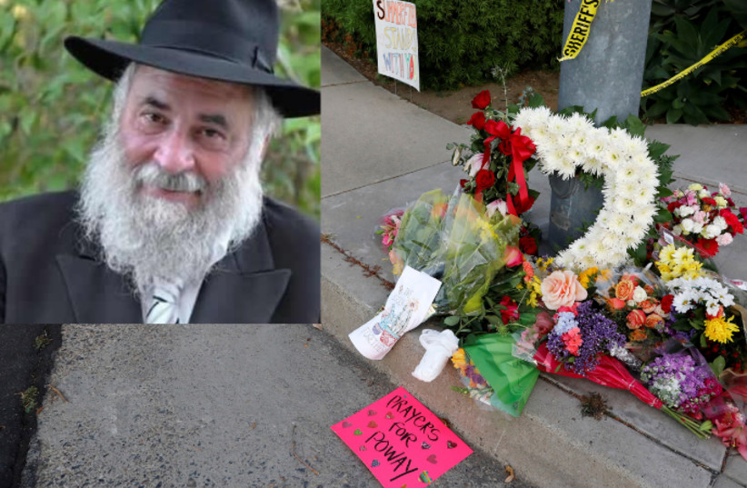 A makeshift memorial a block away from a shooting incident at the Congregation Chabad synagogue in Poway, north of San Diego, California, April 27, 2019. Inset: Rabbi Yisroel Goldstein (Chabad.org))  (photo credit: JOHN GASTALDO/REUTERS)