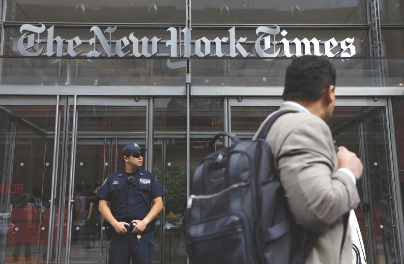THE NEW York Times Building in Manhattan (photo credit: REUTERS)