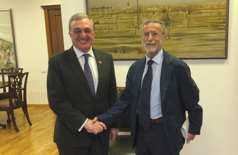 Foreign Minister Zohrab Mnatsakanyan (left) with Yossi Melman (photo credit: YOSSI MELMAN)