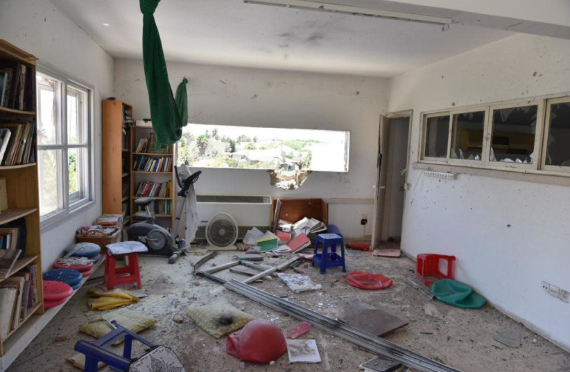 The house in Ashkelon hit by a rocket fired from Gaza (photo credit: POLICE SPOKESPERSON'S UNIT)