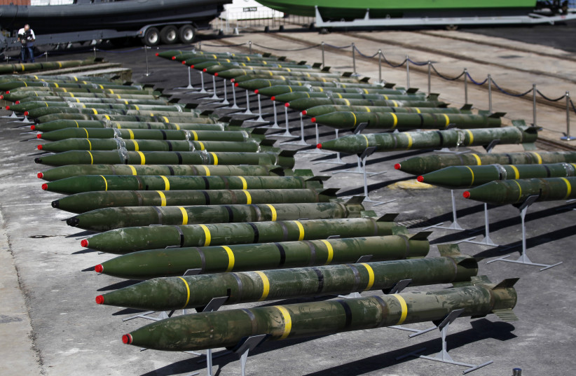 M302 rockets found aboard the Klos C ship are displayed at an Israeli navy base in the Red Sea resort city of Eilat March 10, 2014. The ship seized by the Israeli navy on suspicion of smuggling arms from Iran to the Gaza Strip docked on Saturday in Israel, which planned to put the cargo on display i (photo credit: AMIR COHEN/REUTERS)