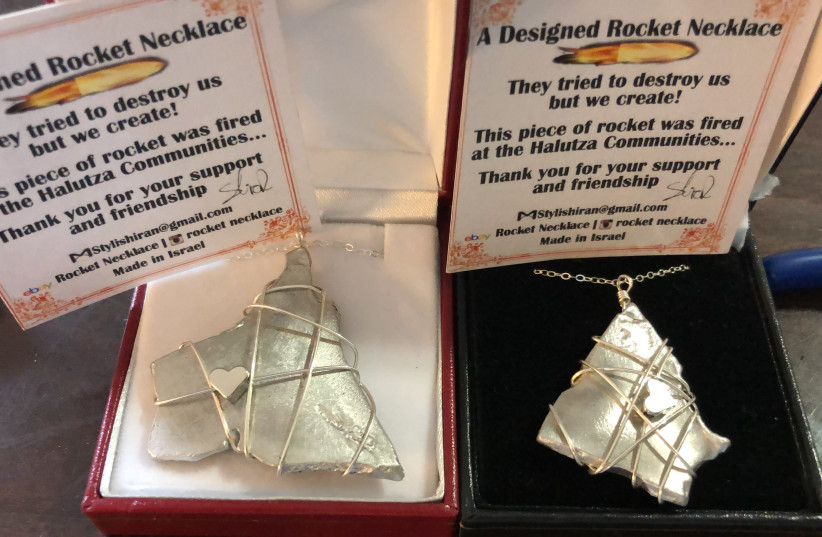 Necklaces made from rocket shrapnel by Yedidya and Shiran Harush (Credit: Rocket Necklace) (photo credit: ROCKET NECKLACE)