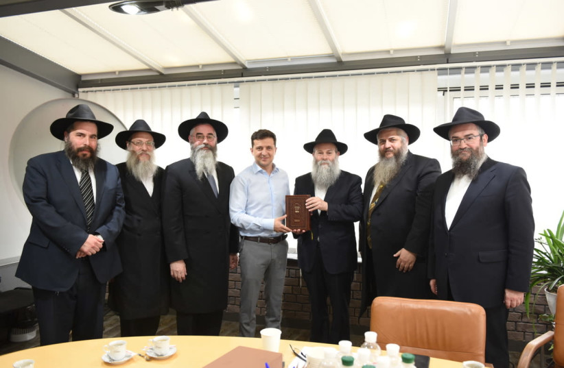 New president elect of Ukraine Vladimir Zelensky met with the Chabad Chief Rabbis on May 6, 2019 (photo credit: CHABAD)