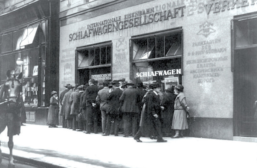 SHADES of Herzl: Railway ticket offices, Vienna, 1923. (photo credit: REUTERS)