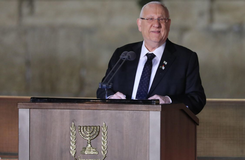 President Reuven Rivlin speaking at the Western Wall on Israel's 2019 Memorial Day  (photo credit: MARC ISRAEL SELLEM)