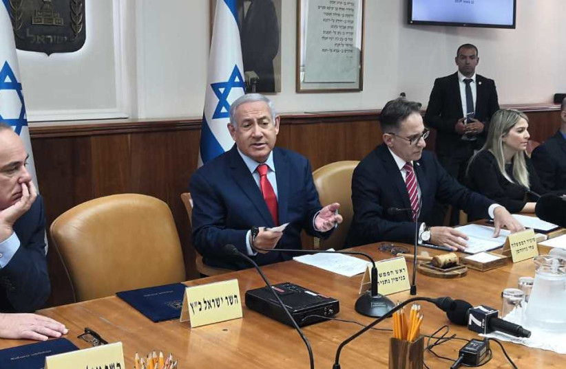 Prime Minister Netanyahu in a cabinet meeting on May 12, 2019, during which he announced the location of a new town, named after President Trump, to be built in the Golan Heights (photo credit: YANIR COZIN / MAARIV)