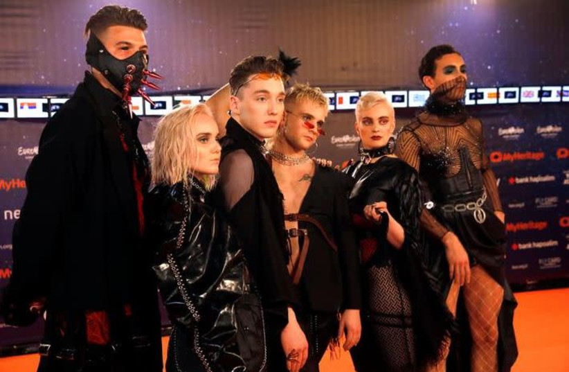 "Contestants Hatari of Iceland pose on the ""Orange Carpet"" during the opening ceremony of the 2019 Eurovision Song Contest in Tel Aviv, Israel May 12, 2019.  (photo credit: AMIR COHEN/REUTERS)"