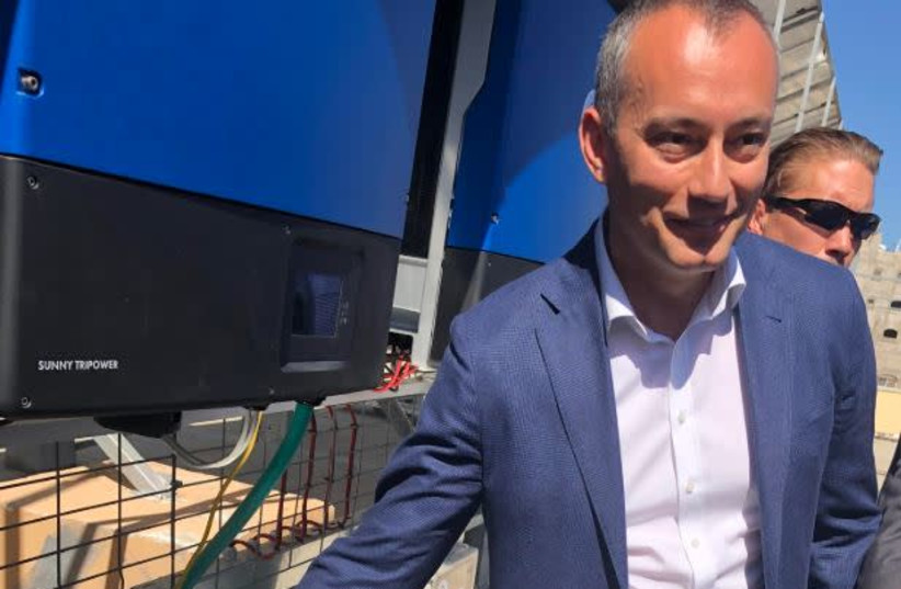 United Nations Special Coordinator for the Middle East Peace Process Nickolay Mladenov Outside NASSER Hospital, Khan Younis (photo credit: Courtesy)