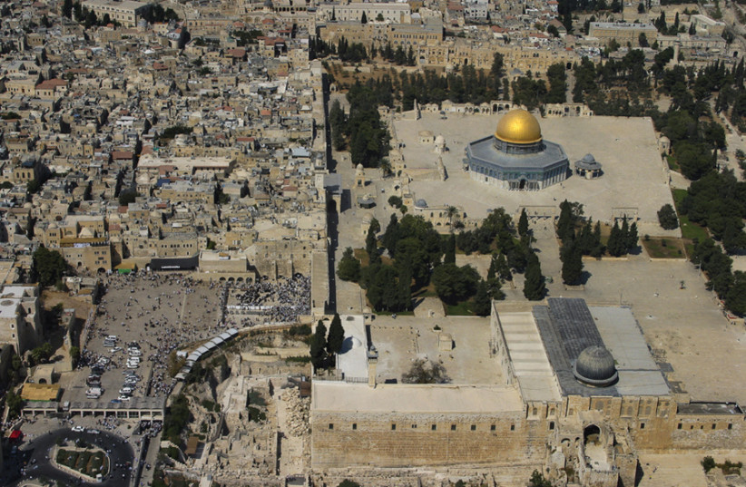 A view of the Temple Mount from the air (photo credit: GALI TIBBON)