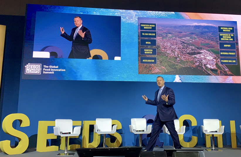 JVP founder Dr. Erel Margalit addresses the Seeds&Chips foodtech conference in Milan, Italy, earlier this month (photo credit: JVP)