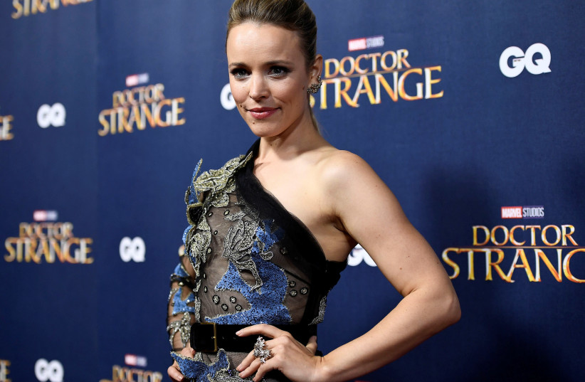 """Rachel McAdams poses, launch event of """"Doctor Strange,"""" Westminster Abbey in London, 2016. (photo credit: DYLAN MARTINEZ/REUTERS)"""