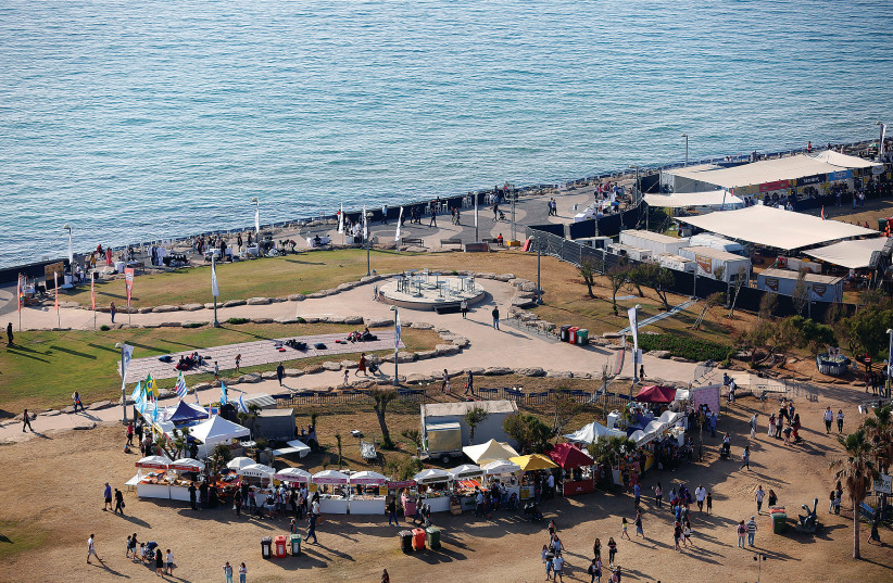 A part of the Eurovision Village in Tel Aviv, an area dedicated for fans of the 2019 Eurovision Song Contest, as seen from above this week. (photo credit: CORINNA KERN/REUTERS)